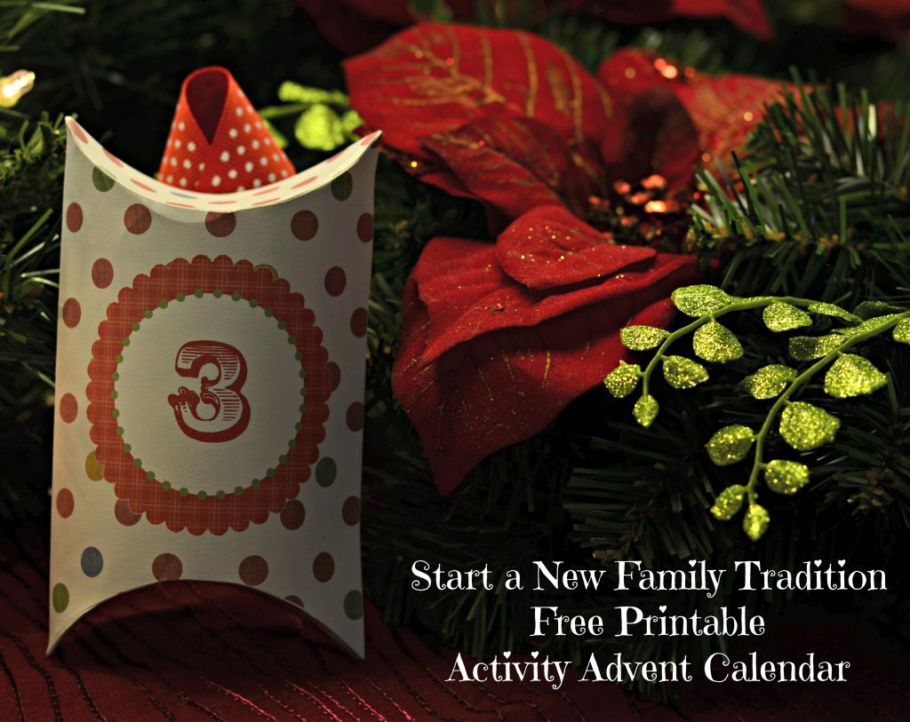 Free Printable activity advent calender- includes activity cards! Very cute!