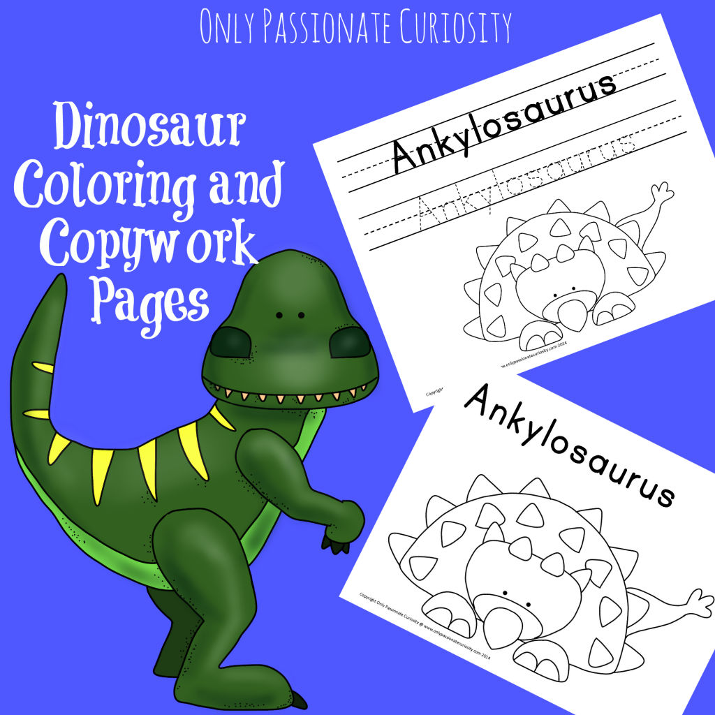 Dino coloring and copywork
