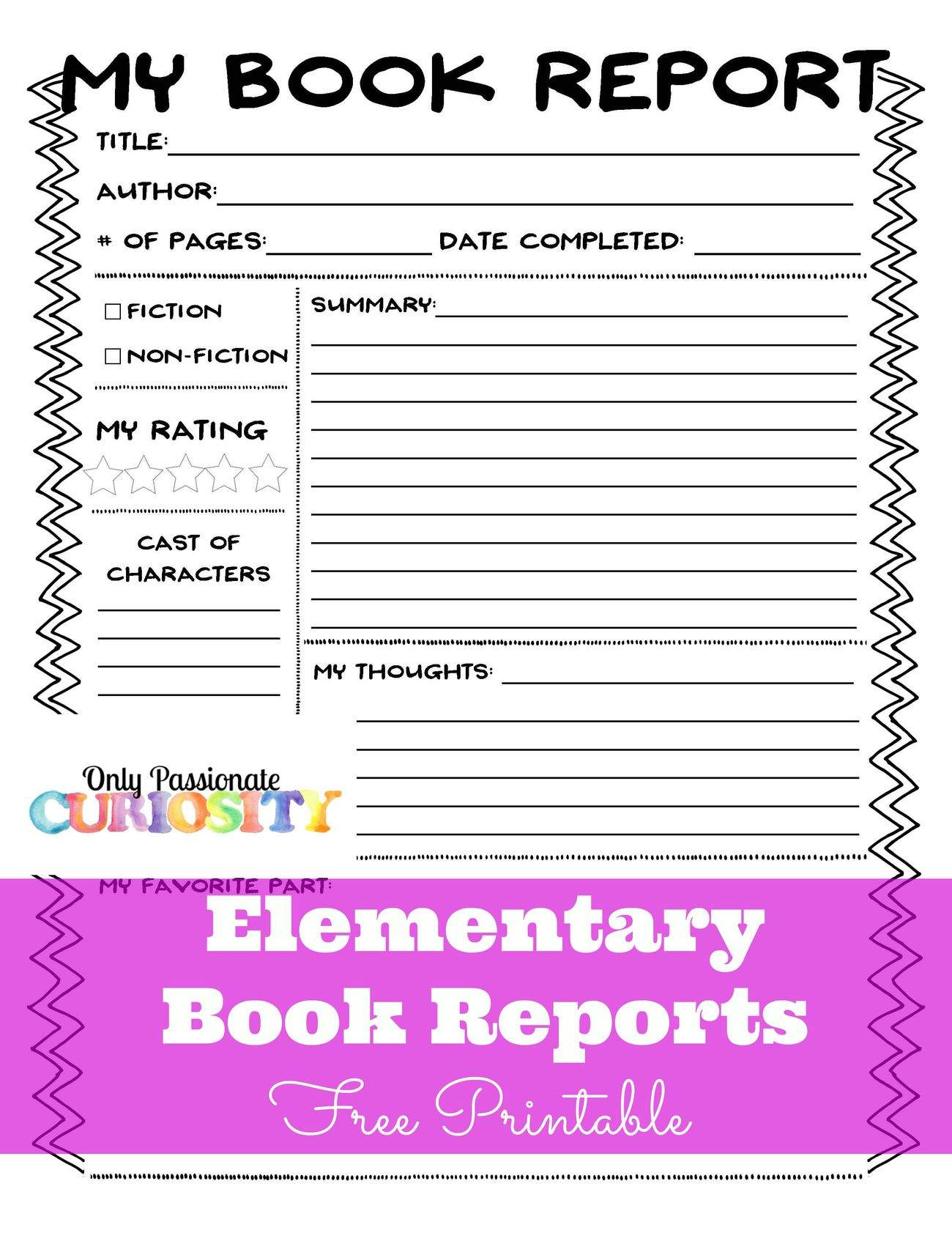 Book report idea for elementary