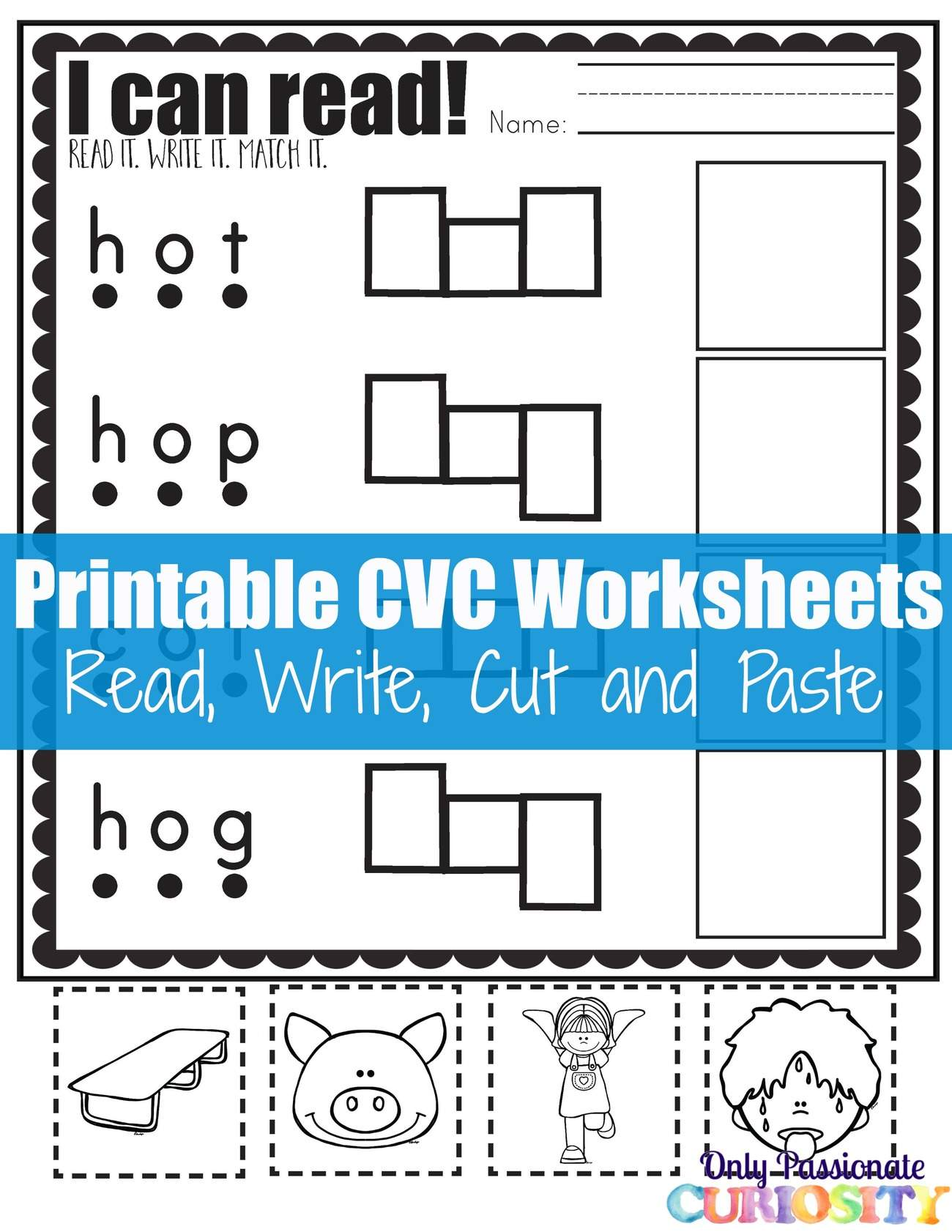 Free Worksheets writing cvc words worksheet : Read, Write, Cut and Paste {I Can Read CVC O Words} u2013 Only ...