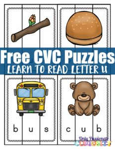 Learn to Read CVC Worksheets: Middle U Puzzles