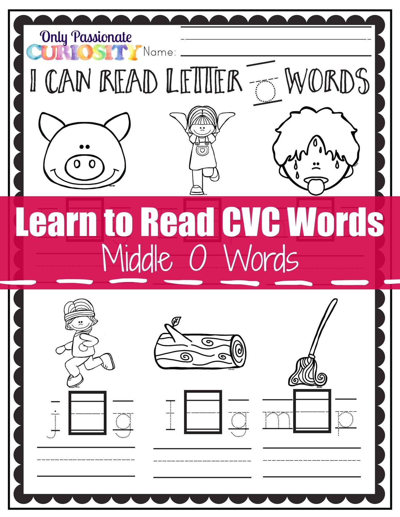 Learn To Read CVC Words: Middle O See And Write