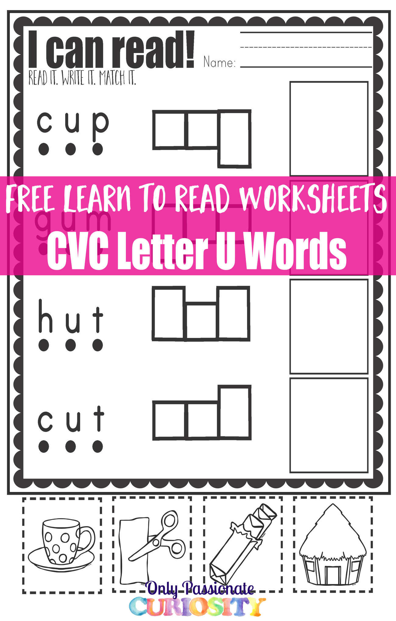 Learn to Read Worksheets Practice with CVC U Words Only – Learn to Read Worksheets