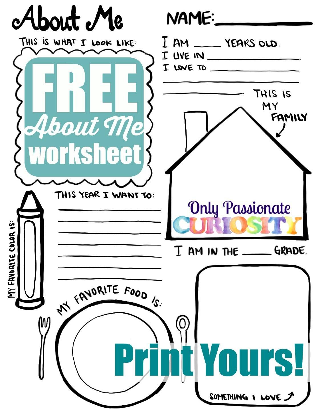 All About Me Back to School Printable Only Passionate Curiosity – Printable All About Me Worksheet