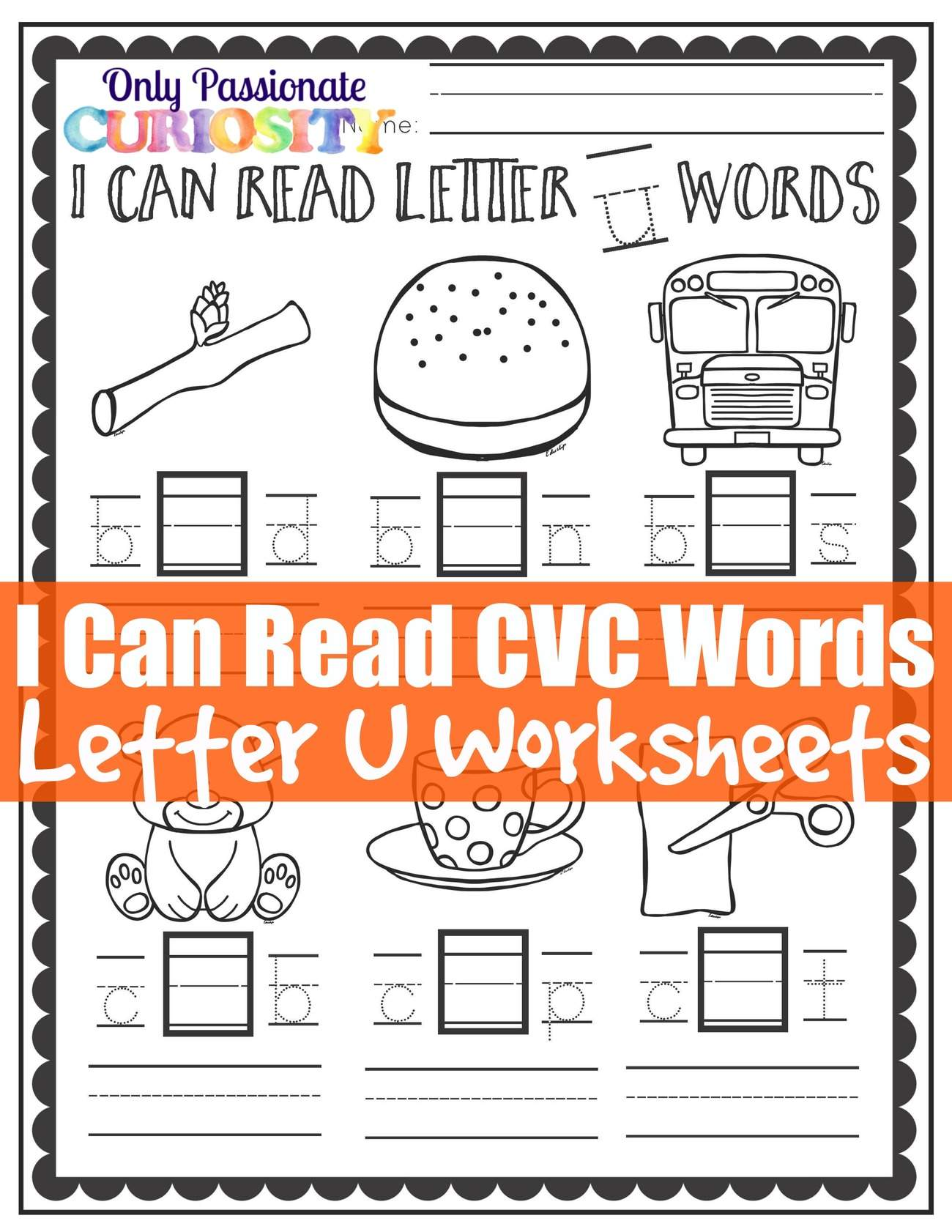 I Can Read CVC Words Middle U Worksheets – ly Passionate Curiosity