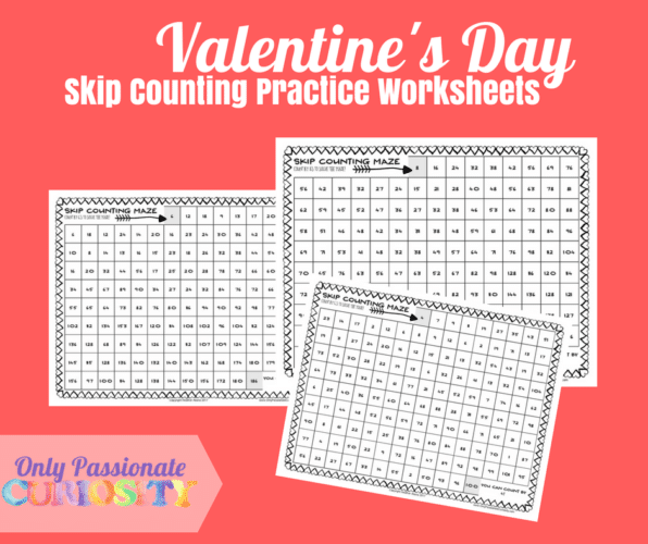 Valentine's Day Skip Counting Practice Worksheets FP
