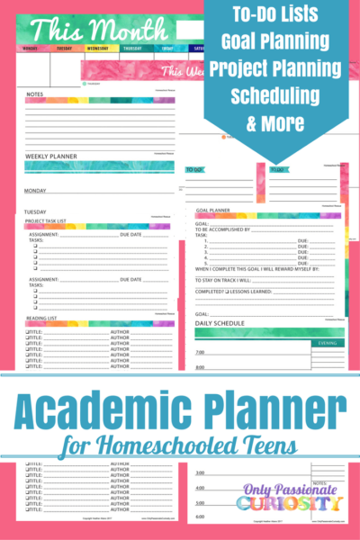 Academic Planners for Homeschooled Teens