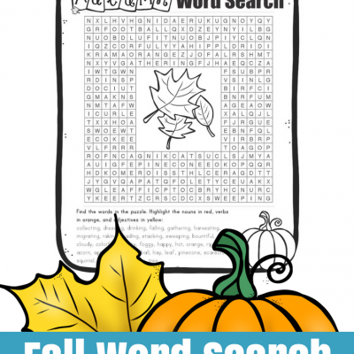 Fall Parts-of-Speech Word Search