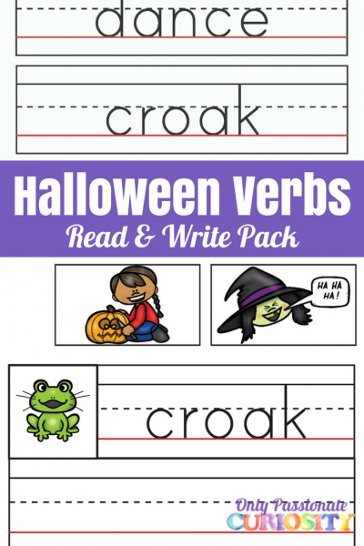 Halloween Verbs Read and Write Pack
