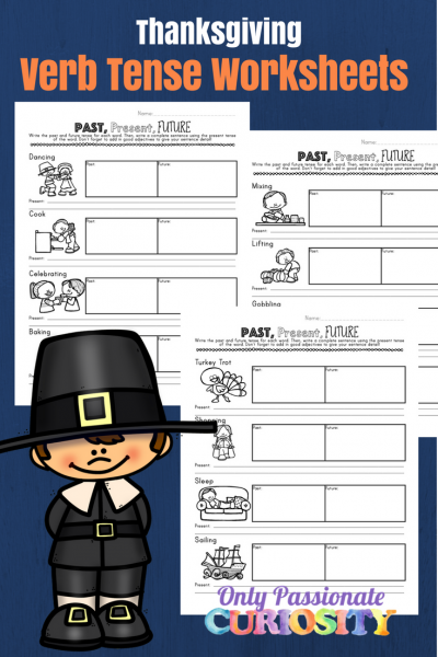Thanksgiving Verb Tense Writing Worksheets