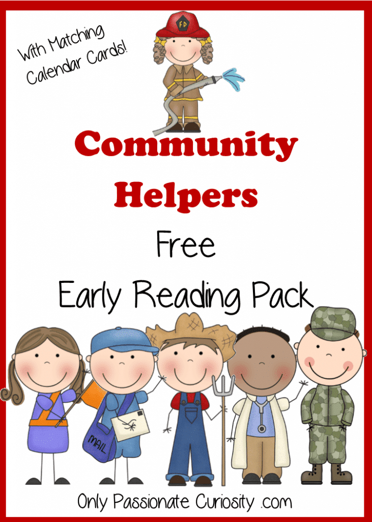 Community Helpers Free Pocket Calendar Cards and Reading Pack {Printable}