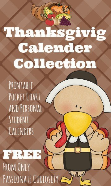 FREE Thanksgiving Pocket Chart Calendar Collection