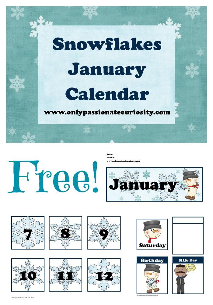 FREE January Pocket Chart Calendar Cards {Snow Themed!}