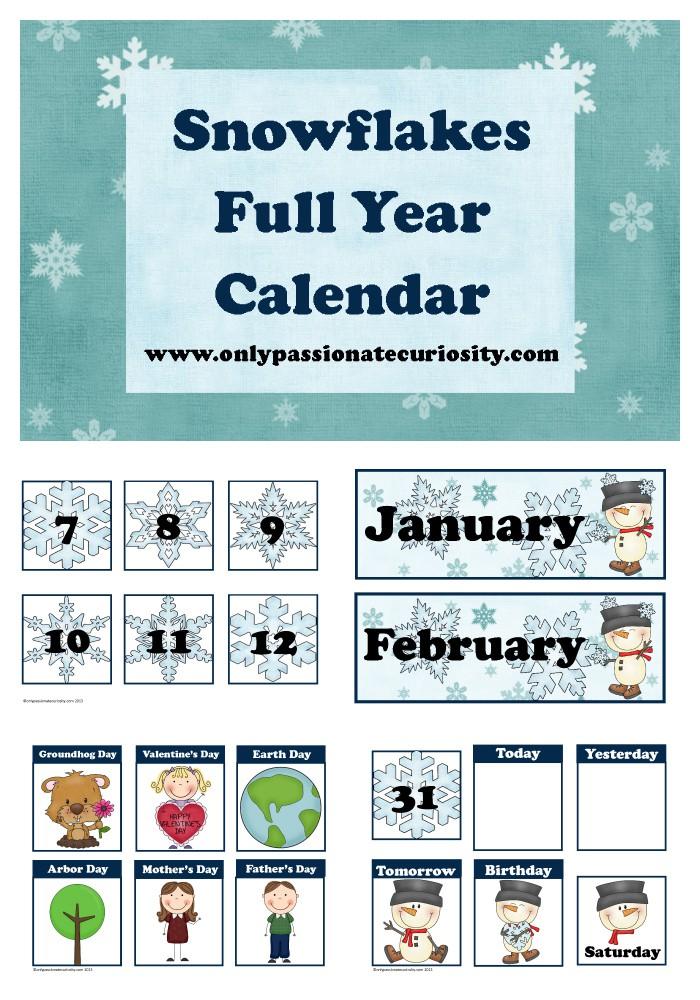 Free January Pocket Chart Calendar Cards Snow Theme