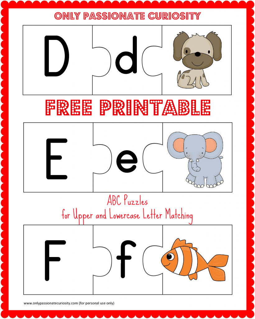 FREE Printable ABC Puzzles: Upper and Lowercase Letter Matching