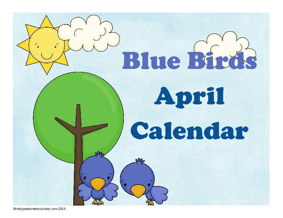 Blue Birds April Pocket Chart Calendar Cards {Free for a Limited Time}