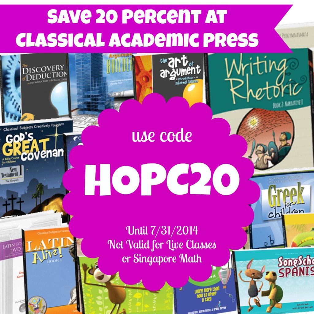 Classical Academic Press Coupon Code HOPC20