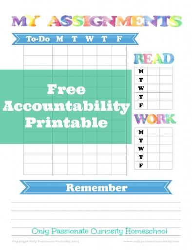 Free Accountability Sheet for Homeschool Kids