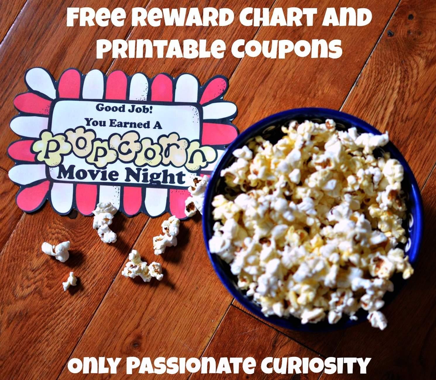 Rewarding Children for their Efforts: Free Popcorn Themed Reward Chart