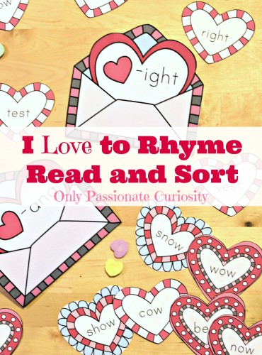 Free rhyming printable pack for valentines day