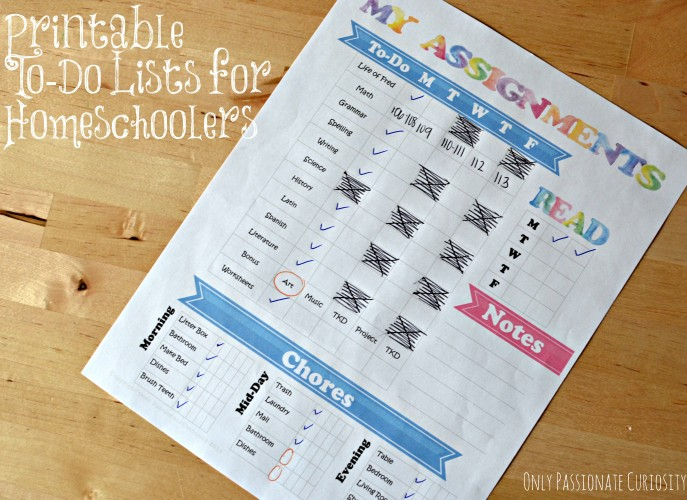 Printable to-do lists for homeschoolers