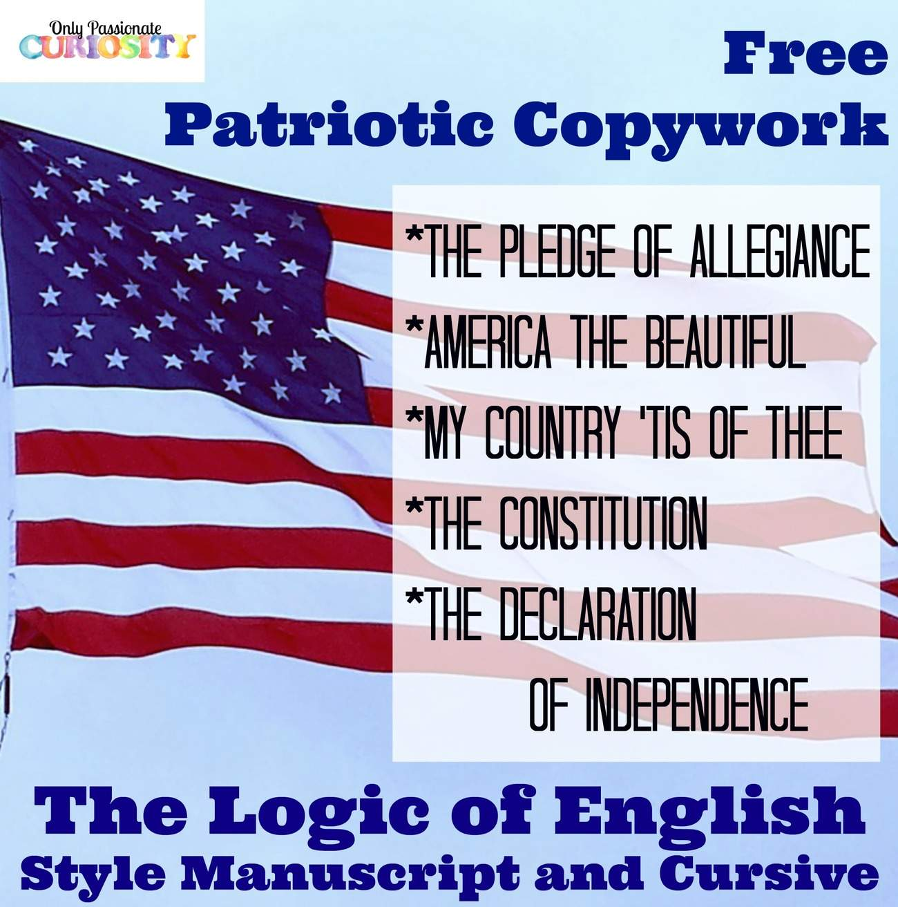 Free Patriotic Copywork {Logic of English Style}