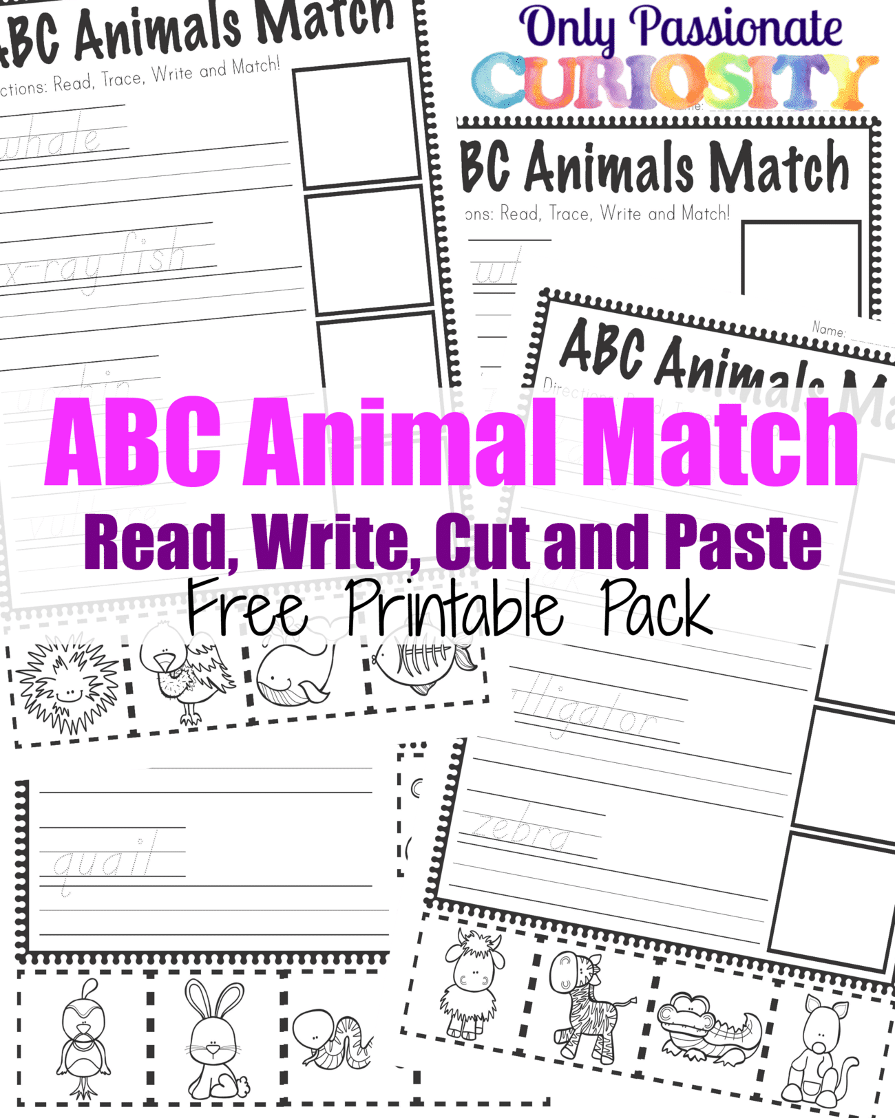 ABC Animals Read, Write, Cut and Paste Pack {ABCs for ME}