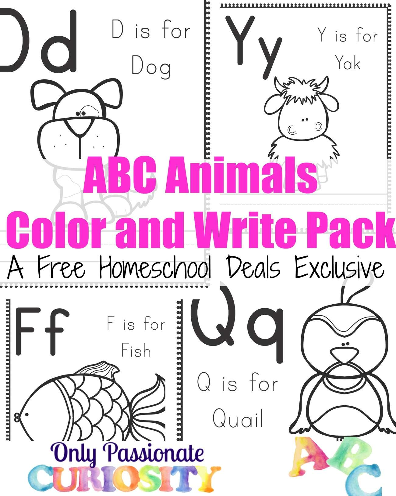 ABC Animals Color and Write Packs