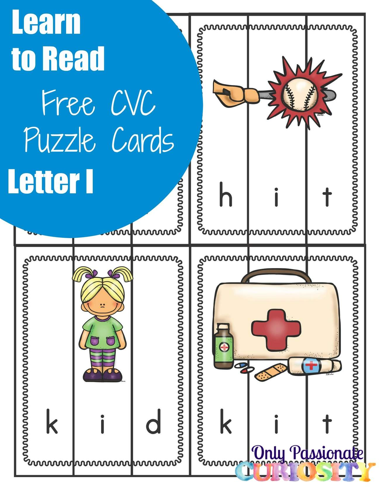 words with letters learn to read cvc puzzles with the letter i only 25763 | Letter I words CVC Puzzles