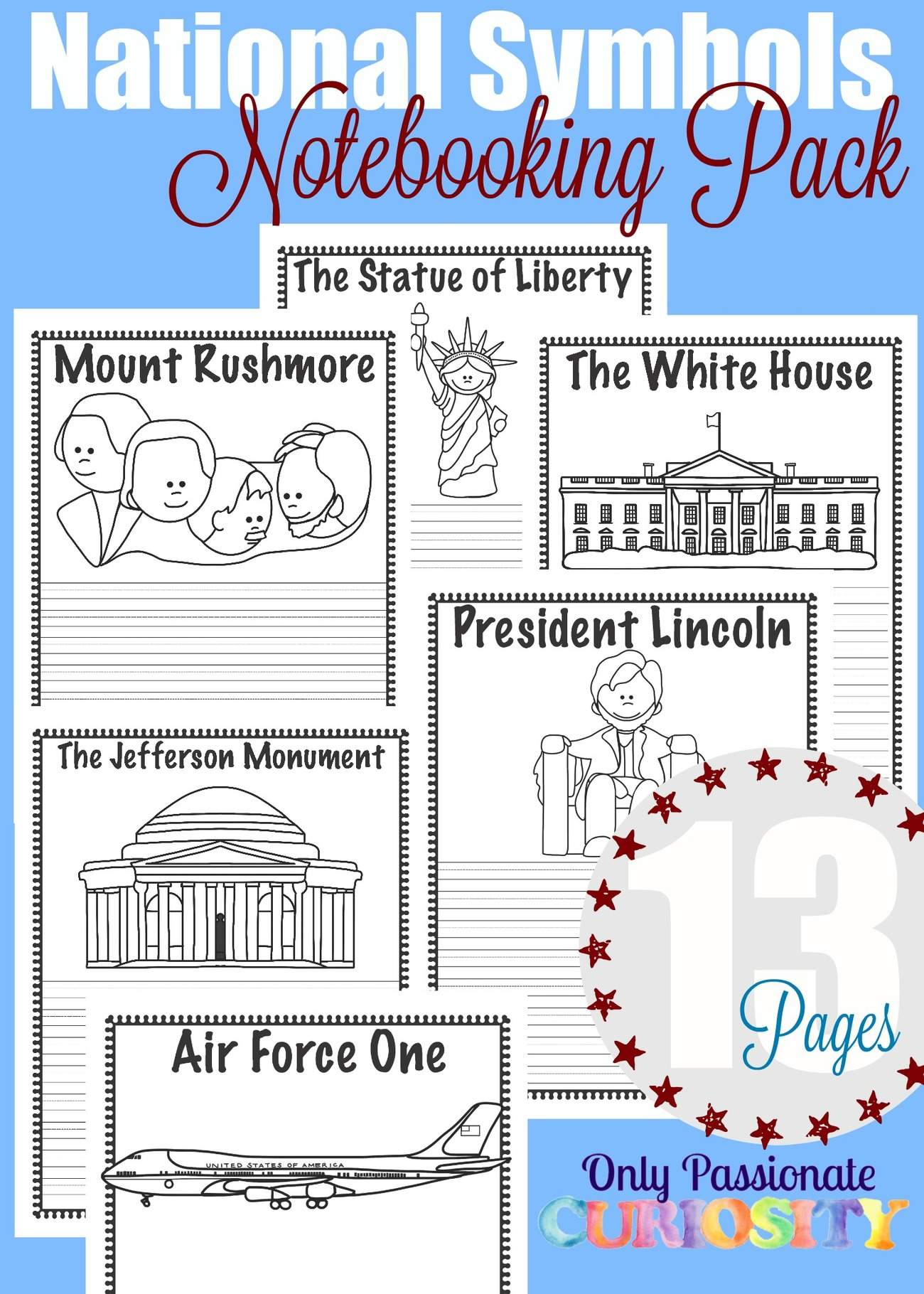National Symbols Notebooking Pages