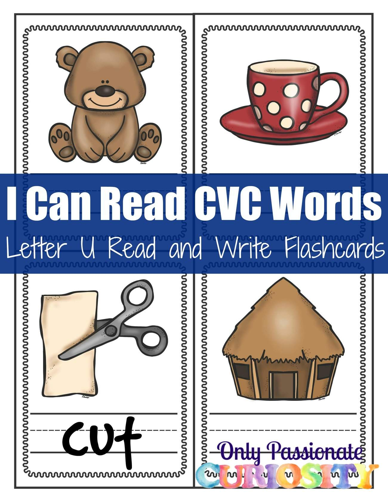 Read and Write Flashcards: CVC U Words