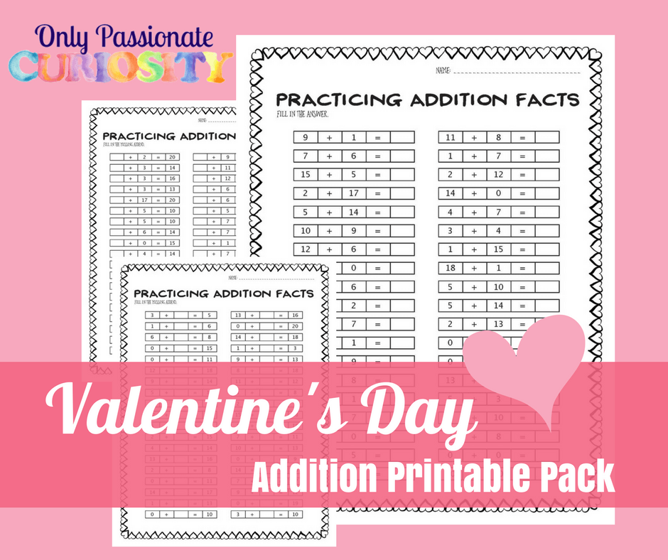Valentine's Day Addition Worksheets