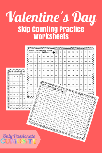 Valentine's Day Skip Counting Practice Worksheets PG