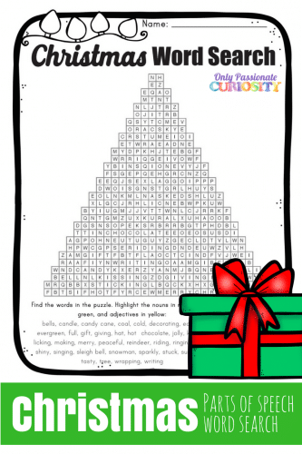 picture about Christmas Word Find Printable Free named Xmas Pieces of Speech Phrase Glimpse - Simply Pionate