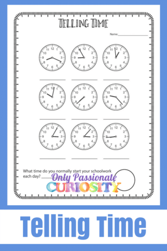 Telling Time Worksheets – Only Passionate Curiosity