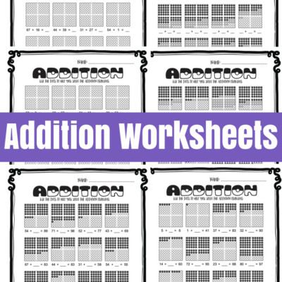 Addition Worksheets with Hundreds Frames