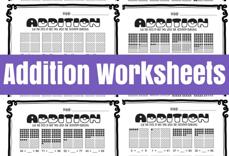 Addition Worksheets with Hundreds Frames