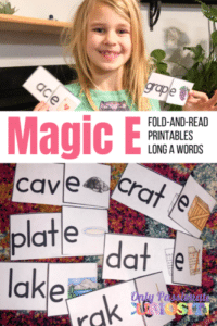 little girl with magic e worksheets and printables