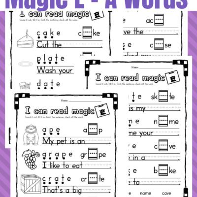 Printable Magic E – Long A Worksheets