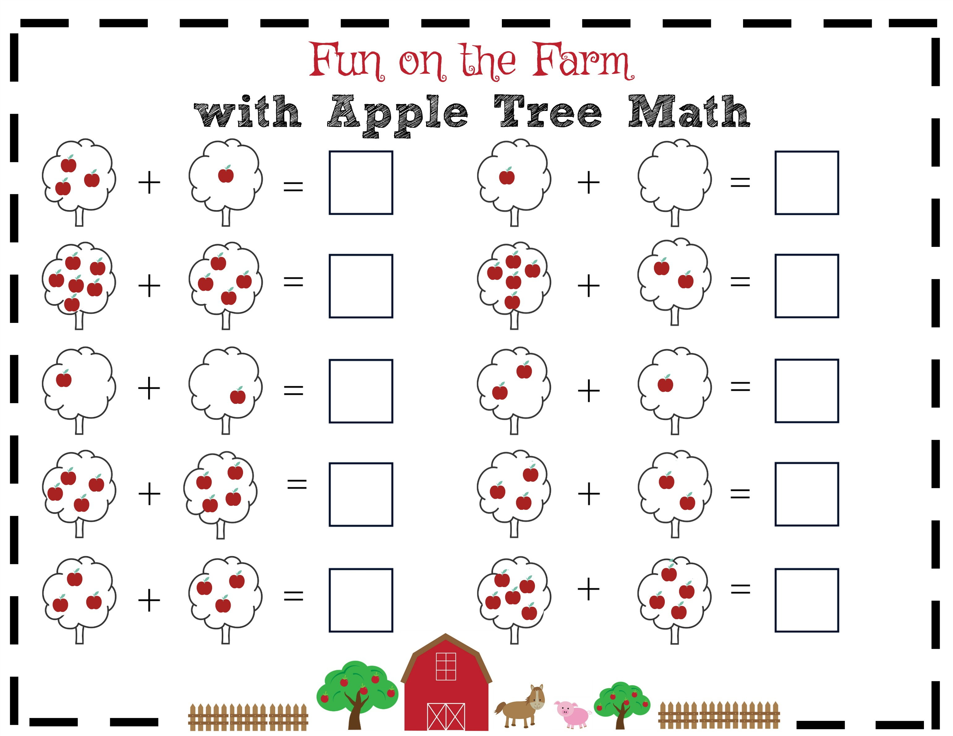 Apple Tree Math Worksheet 1 - Only Passionate Curiosity